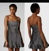 Topshop Silver Metallic Black Frill Strapless Sexy Dress Size 10 FREE POSTAGE