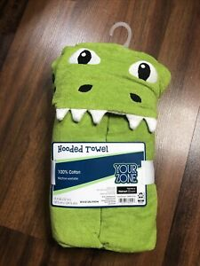 GREEN DINOSAUR YOUR ZONE HOODED TOWEL KIDS