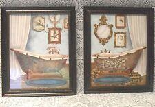 "2 Pc CLAWFOOT TUB 11""x9"" Vintage Style Hanging Framed WALL ART Gold Blue Bath"