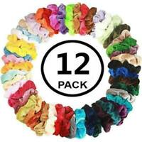 12pcs Assorted Elastic Velvet Hair Ties Scrunchies Elastic Ponytail Holder AU