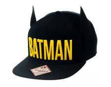 OFFICIAL DC COMICS BATMAN EMBROIDERED TEXT BLACK SNAPBACK CAP WITH BAT EARS *NEW