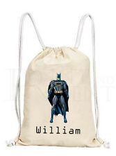 Personalised Batman Drawstring Canvas Gym/ PE Bag