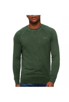 Superdry Men's Garment Dye L.A. Crew Knitwear Green, Size XXL
