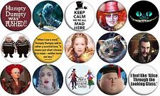 """ALICE THROUGH THE LOOKING GLASS - Lot of 15 - Pin Back - 1"""" Buttons Set A"""