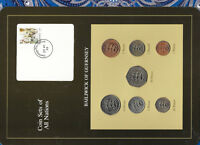 Coin Sets of All Nations Guernsey w/card 1979-1984 UNC £1,20,50 Pence 1983