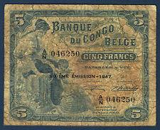 CONGO - 5 FRANCS CONGO BELGE Pick n° 13Ad. du 10-04-1947. en TB  A/N046250