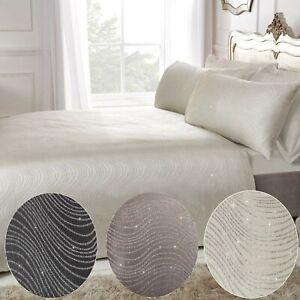 Swirl Glitter Jacquard Bedding Luxury Duvet Cover and Pillowcase Set