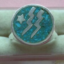 Vintage Inlaid Turquoise Sterling Silver 925 Thunder Design Ring skaisA17
