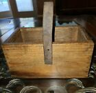 Rustic Wood Tote Farm House Box With Leather Strap Salvage