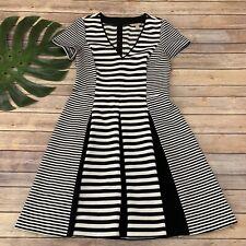 Banana Republic Striped Dress Size 10 Black White Fit Flare Knee Length Pleats