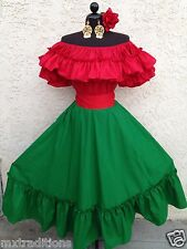 MEXICAN DRESS FIESTA,5 DE MAYO,DAY OF THE DEAD OFF SHOULDER 2PC W/SMALL SASH