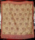 Antique French Woven Silk Damask Jacquard Textile Panel Table Topper Tapestry
