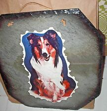 "Large Slate Tile 14""x13"" Shetland Collie Dog Decoupaged Picture Wall Hanging"