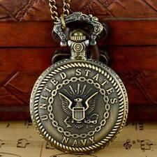 Retro Steampunk Pocket Watch Bronze Us Navy Classic Modern Quartz Pendant Chain