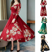 Women's Fashion Early Spring Temperament Long Sleeve Floral Chiffon Dress Skirts