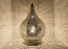 Tall Teardrop Moroccan Style Silver Metal Table Lamp Inspired Styles