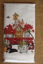 Christmas Mary Lake Thompson Flour Sack Towel - Amaryllis Wagon, Cat, Birdhouse