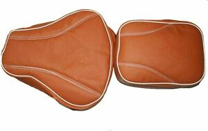 Fits Royal Enfield Classic Embossed Front & Rear Seat Cover Tan Leatherette ECs