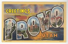 [52082] OLD LARGE LETTER POSTCARD GREETINGS FROM PROVO, UTAH