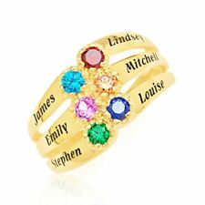 Mother's Ring 9 Ct Yellow Gold Birthstone 6 Names Engraved Keepsake Special Gift