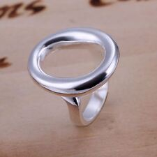 *UK* 925 SILVER PLT ADJUSTABLE OPEN OVAL STATEMENT RING HOLLOW ZERO CIRCLE THUMB