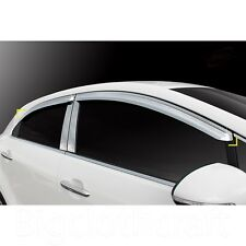 New Chrome Window Vent Visors Rain Guards for Kia Rio5 Pride 5door 2012 - 2015