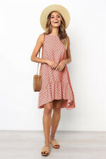 CA Womens Summer Sleeveless Polka Dot Dress Ladies Holiday Ruffle Beach Sundress
