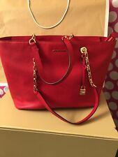 NWT Michael Kors Mercer Chain Bright Red Tote Leather
