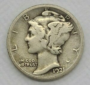 1921-D Denver Silver Mercury Dime Semi Key Date