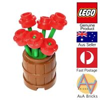 Genuine LEGO® - Flower Pot Barrel with Red Flowers - All new parts - MOC