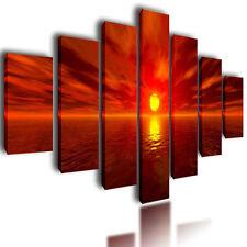 "HUGE EXTRA LARGE CANVAS PICTURES WALL ART ORANGE SPLIT SUNSET MULTI PANEL 80"""