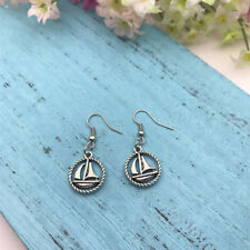 Small Sailboat Sailing Earrings Nautical Round Boat Charm Jewelry, Wind Sail