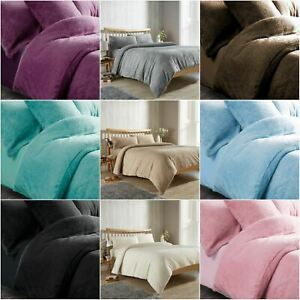 Single Bed Teddy Bear Fleece Duvet Cover Set Thermal Warm Soft Sherpa Bedding