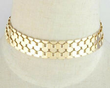 STATEMENT METAL CHAIN LINK WIDE SILVER GOLD TONE CHOKER FASHION WOMEN NECKLACE