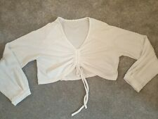 (O) Shein Cream Long Sleeved Crop Top Size XL Approx 16/18