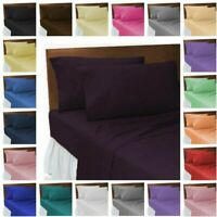 PLAIN DYED POLY COTTON SOFT FLAT SHEETS FITTED SHEETS SHEET SETS 19 COLOURS