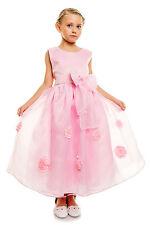 Nuevo Dama De Honor Bautizo Fiesta vestido en marfil Rosa 2 3 4 5 6 7 8 Años