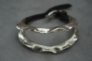 NWT Uno De 50 RETIRED Silver Leather Belt Closure PINCHO Statement Bracelet