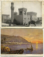 JUDAICA, SET 2 POSTCARDS, JERUSALEM 1959 SIGNED BY ARCHITECT + HAIFA 1911      m
