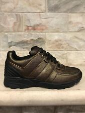 NIB Chanel 16K Gold Brown Leather Black CC Lace Up Tie Flat Trainer Sneaker 36
