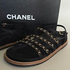 CHANEL 37 Runway $1150 Black Leather &Satin Gladiator Gold Chain Sandals Box&Bag