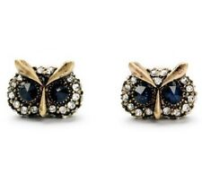 NAVY SAPPHIRE BLUE CRYSTAL RHINESTONE Designer Figural Owl Bird Stud Earrings
