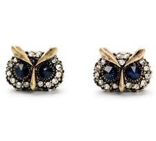 NAVY SAPPHIRE BLUE CRYSTAL RHINESTONE Designer Figural Owl Bird Stud Earrings