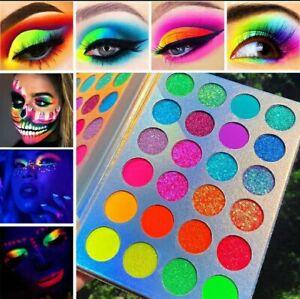 24Colours Glow in the Dark Neon Eyeshadow Palette Matte Glitter Shimmer Afflano