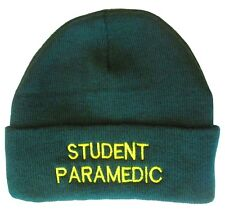 STUDENT PARAMEDIC Green Woolly Beanie Hat EMT St Johns Medic & First Responder