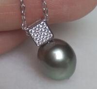 Südsee Tahiti Perlen Anhänger Silber 925  Kette UNIKAT Collier bis 50cm schlicht
