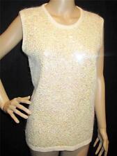 Gladys Bagley ~Designer Sequin Silk Nylon Angora Sleeveless Sweater Sz M Perfect