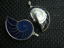 Anhänger 925ér Silber Unikat Muschel  Nautilus im Satinbeutel blau oder schwarz