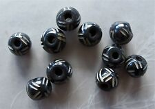 10 Carved Black Bone Round Beads with Off White Design 11mm