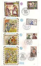 N° 402- lot de 4 enveloppes 1er jour  cadres façon tableaux  tissu satiné -1969